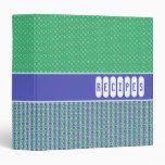 "Retro Blue Green Customizable Recipe Binder - 1.5"""