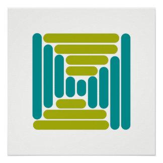 Retro Blue Green Geo Box Poster