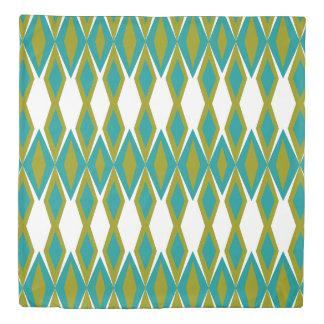 Retro Blue & Green Geometric Print Duvet Cover