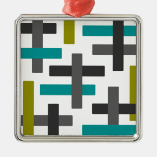 Retro Blue, Green, Grey Abstract Metal Ornament