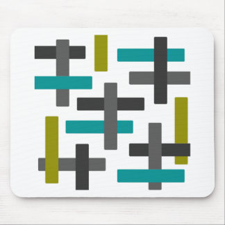 Retro Blue, Green, Grey Abstract Mouse Pad