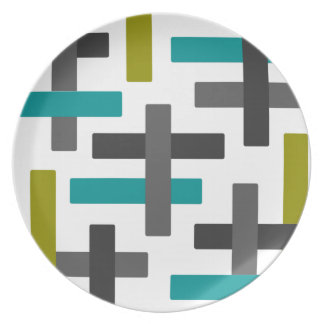 Retro Blue, Green, Grey Abstract Plate
