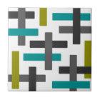 Retro Blue, Green, Grey Abstract Tile