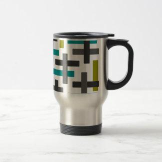 Retro Blue, Green, Grey Abstract Travel Mug