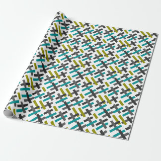 Retro Blue, Green, Grey Abstract Wrapping Paper