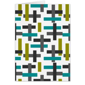 Retro Blue, Green, Grey Art Card