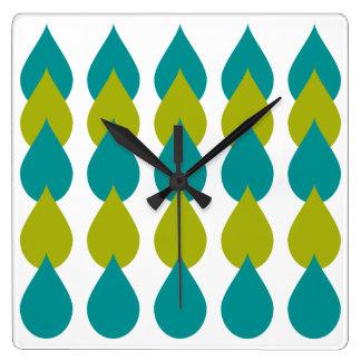 Retro Blue Green Square Wall Clock