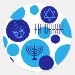 Retro Blue Hanukkah Dots Stickers
