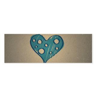 Retro Blue Heart. Sepia Vintage Design Business Cards