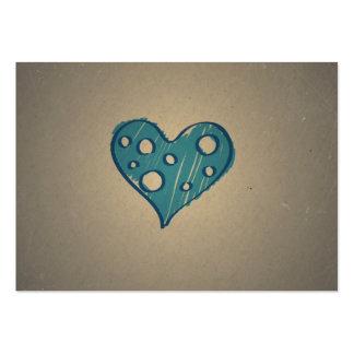Retro Blue Heart. Sepia Vintage Design Business Card Template