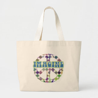 Retro Blue Imagine Peace Sign Large Tote Bag