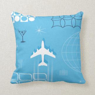 Retro Blue Mid-Century Style Jet-Age Throw Pillow