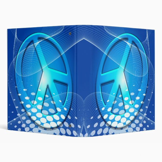 RETRO BLUE PEACE SIGN 3 RING BINDERS