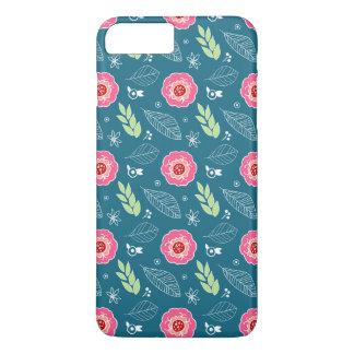 Retro Blue Pink Flowers Illustration Pattern iPhone 7 Plus Case