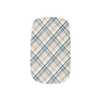 Retro Blue Plaid Minx Nail Art