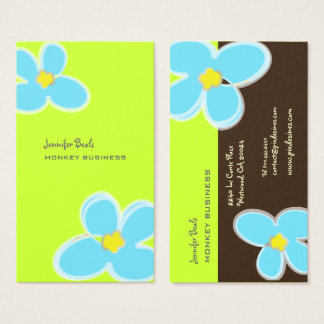 RETRO BLUE PLUMERIAS/DIY BACKGROUND COLOR BUSINESS CARD
