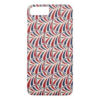 Retro blue red hexagon pattern iPhone 7 plus case
