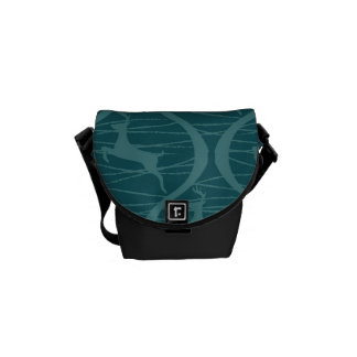 Retro Blue Reindeer Pattern Christmas Holiday Gift Commuter Bags