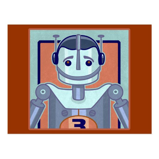 Retro Blue Robot Kids Postcard