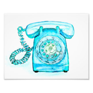 Retro Blue Rotary Telephone Art Print Vintage