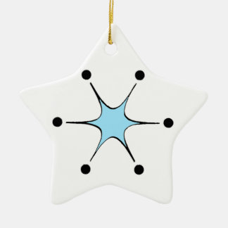 Retro Blue Starburst Ceramic Star Ornament