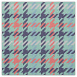Retro blue teal coral houndstooth plaid pattern fabric