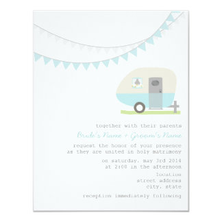 Retro Blue Trailer Wedding Invitation