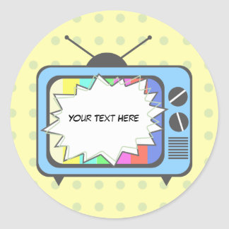 Retro Blue TV Set Round Sticker