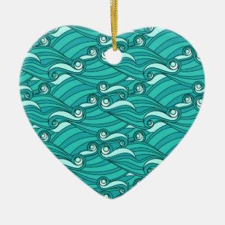 Retro blue waves zentangle doodle surf art christmas tree ornaments