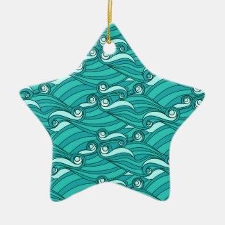 Retro blue waves zentangle doodle surf art christmas ornaments