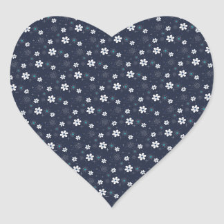 Retro blue white aqua flower heart sticker