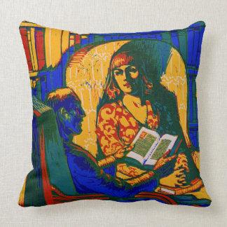 Retro Books Poster 1920 Throw Pillow