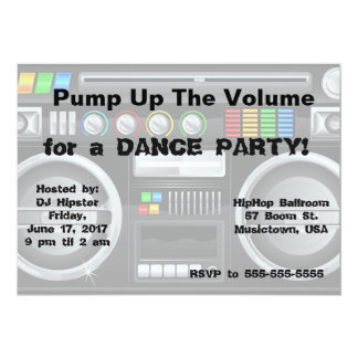 retro boombox dance party customize card
