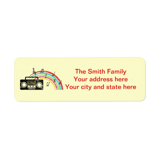 Retro boombox with music and rainbow return address label