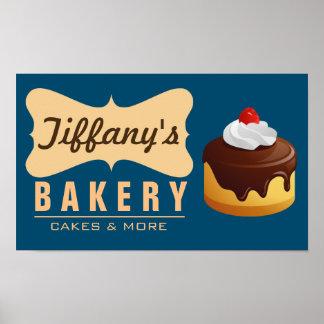 Rétro boulangerie mignonne élégante de gâteau poster