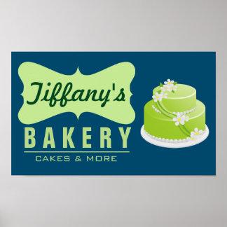 Rétro boulangerie mignonne élégante du vert bleu | poster