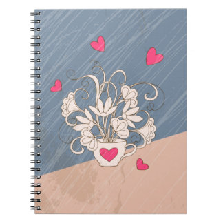 retro bouquet in the cup with hearts spiral notebook