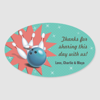 Retro Bowling Party Thank You Oval Sticker