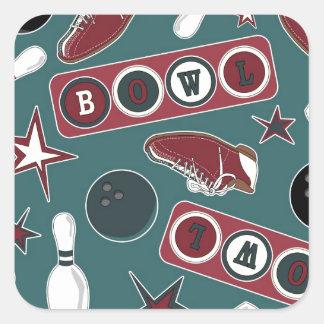 Retro Bowling Pattern Square Sticker