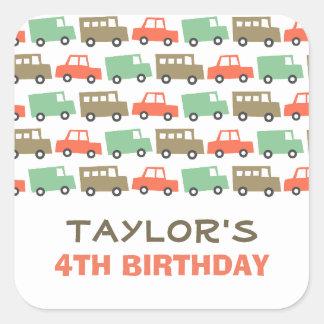 Retro Boy s Toys Fun Transport Birthday Sticker