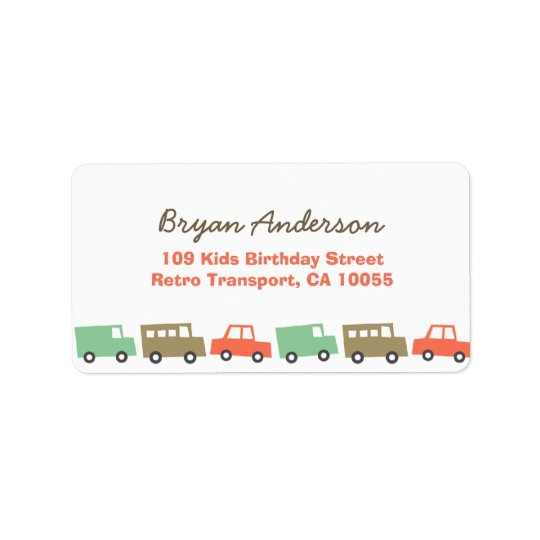 Retro Boys Toys Fun Transport Birthday Address La Label