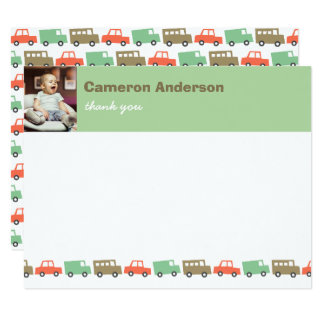 "Retro Boys Toys Kids Birthday Photo Thank You Card 4.25"" X 5.5"" Invitation Card"