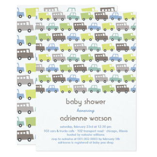Retro Boys Toys Transport Baby Shower Invitation