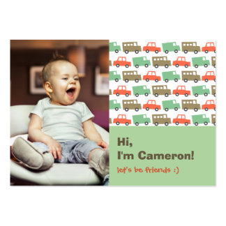 Retro Boys Toys Transport Kids Photo Playdate Card Large Business Card
