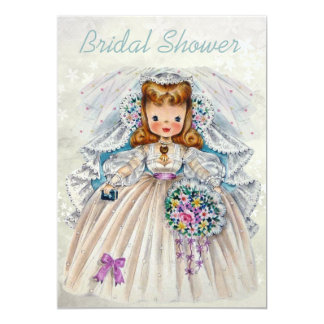 Retro Bride Bridal Shower Front Back Double Sided 5x7 Paper Invitation Card