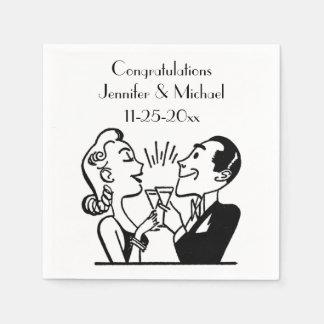 Retro Bride Groom Champagne Wedding Anniversary Disposable Napkin