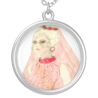 Retro Bride in Red and Pink Silver Plated Necklace