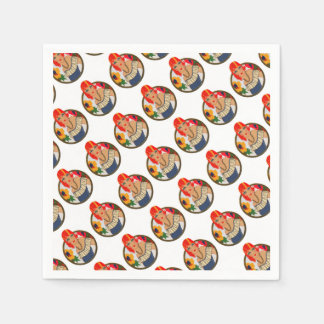 Retro Bridge Tally Redhead Paper Napkins