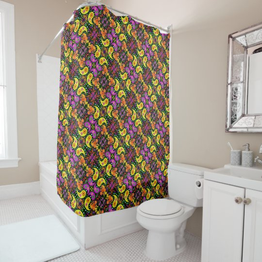 Retro Bright Colourful Psychedelic Paisley Pattern