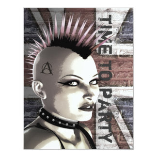 Retro British Punk Fashion Small Size Invitations
